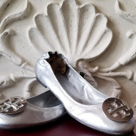 279abc97e913 Tory Burch Shoes - Tory Burch REVA Silver Leather Ballet Flats